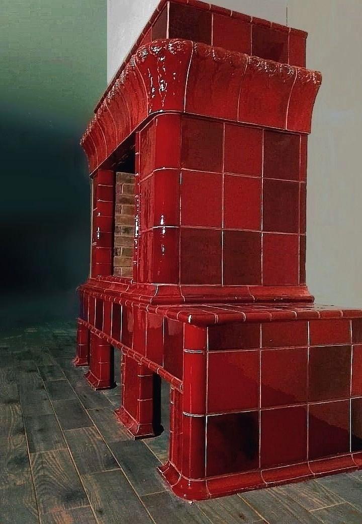Scarlet art nouveau style fireplace