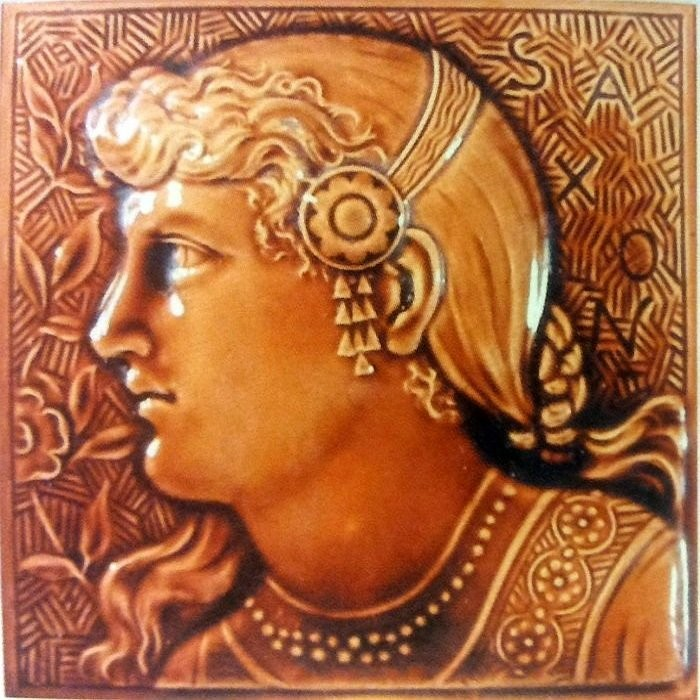 Victorian relief tile. English art ceramics