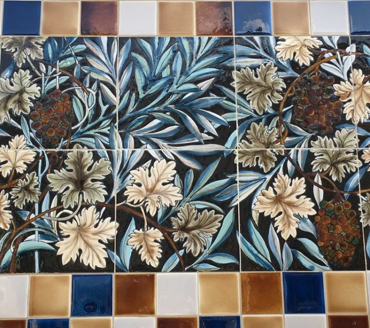 Victorian facade ceramic mural based on a sketch of William Morris's The Vine