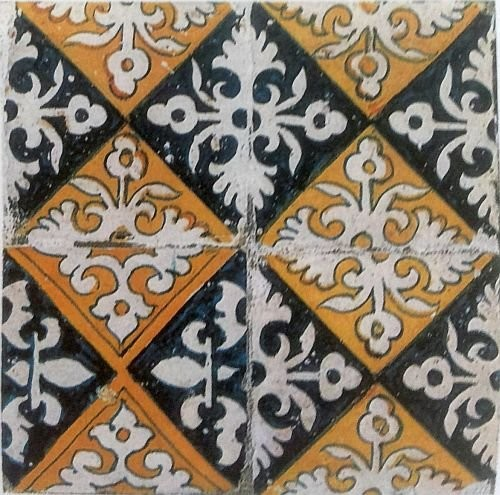 Early ornamental Delft tiles. End of 16th century