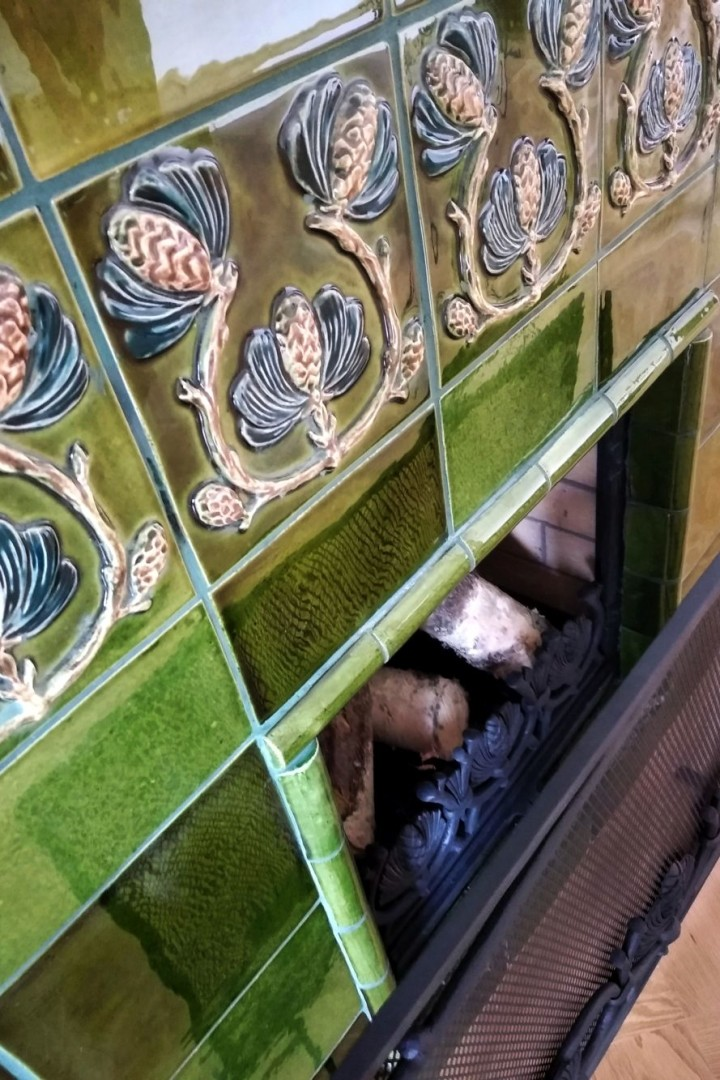 Tiled fireplace in the style of Northern Art Nouveau