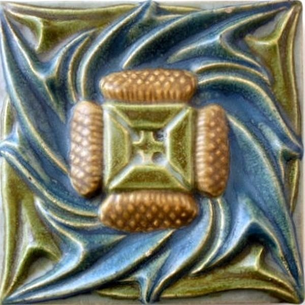 A tile in Art Nouveau style. Rookwood. US art ceramic tiles of the early XX century
