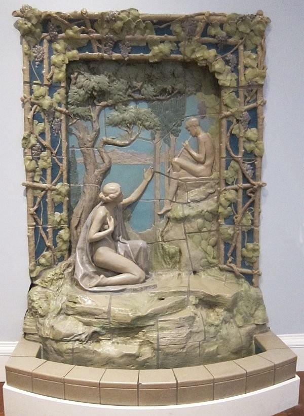 Ceramic fountain, Cincinnati Museum of Arts. Rookwood Pottery