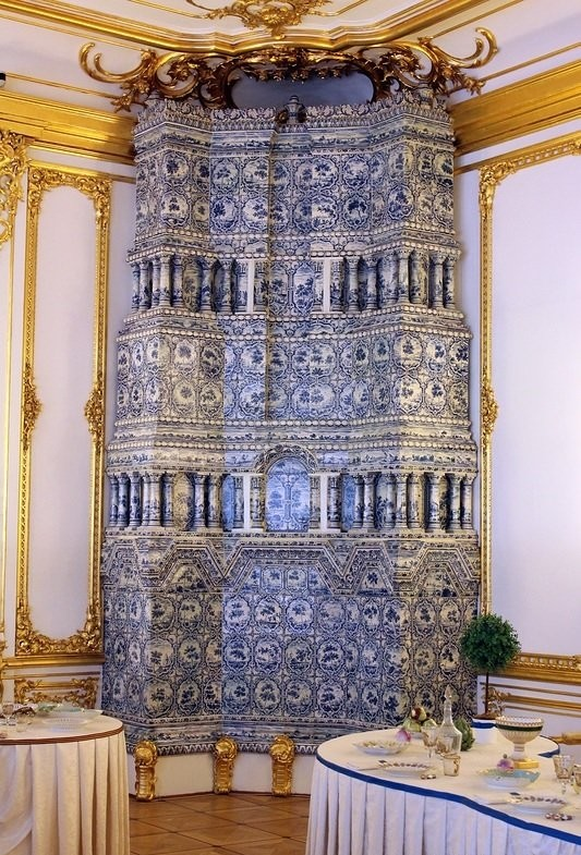 Multitier tiled stoves in Cavalier's canteen. Catherine Palace. Saint-Petersburg