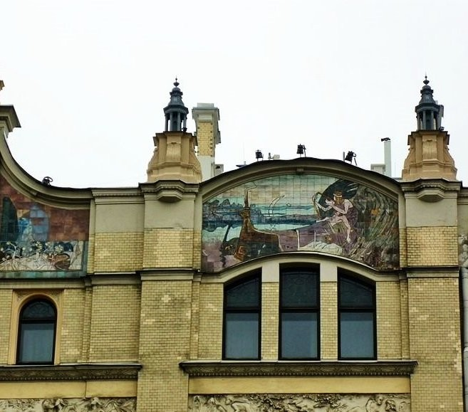 Ceramic mural on Metropol Hotel Architectural ceramics of Moscow Art Nouveau