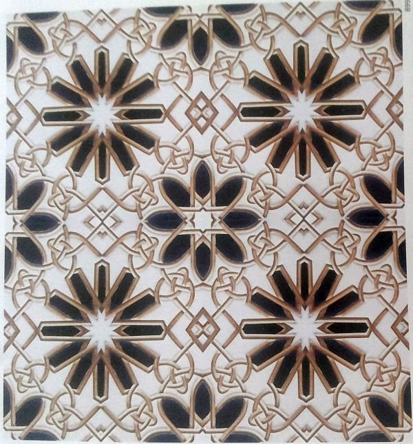 A tile with a Moorish ornament made by American Encaustic Tiling Co. 1920