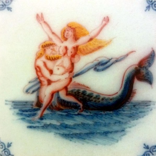 A tile with Neptune and Fortuna. 1625